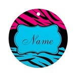 Personalizable Hot Pink and Teal Round Ornament