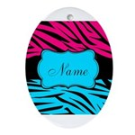 Personalizable Hot Pink and Teal Oval Ornament