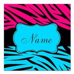 Personalizable Hot Pink and Teal Square Car Magnet