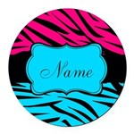 Personalizable Hot Pink and Teal Round Car Magnet