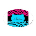 Personalizable Hot Pink and Teal Oval Car Magnet