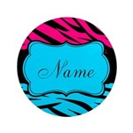 Personalizable Hot Pink and Teal Button