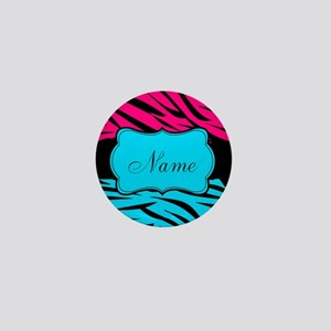Personalizable Hot Pink and Teal Mini Button