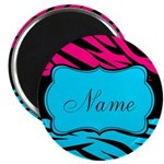 Personalizable Hot Pink and Teal Magnets