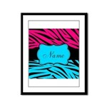 Personalizable Hot Pink and Teal Framed Panel Prin