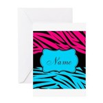 Personalizable Hot Pink and Teal Greeting Cards