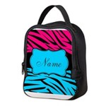 Personalizable Hot Pink and Teal Neoprene Lunch Ba