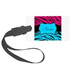 Personalizable Hot Pink and Teal Luggage Tag