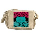 Personalizable Hot Pink and Teal Messenger Bag