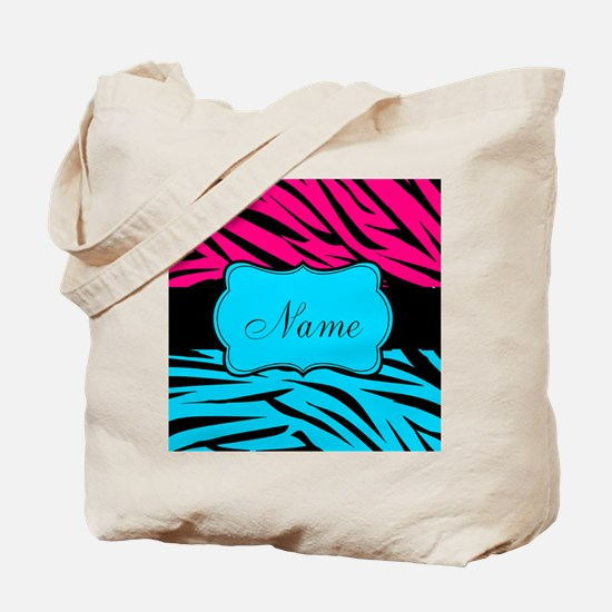 Personalizable Hot Pink and Teal Tote Bag