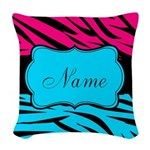 Personalizable Hot Pink and Teal Woven Throw Pillo