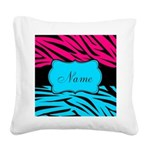 Personalizable Hot Pink and Teal Square Canvas Pil