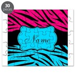 Personalizable Hot Pink and Teal Puzzle