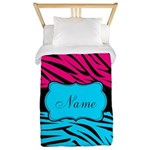 Personalizable Hot Pink and Teal Twin Duvet