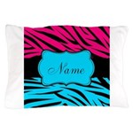 Personalizable Hot Pink and Teal Pillow Case