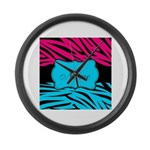 Personalizable Hot Pink and Teal Large Wall Clock