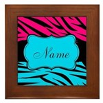 Personalizable Hot Pink and Teal Framed Tile