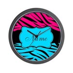 Personalizable Hot Pink and Teal Wall Clock