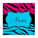 Personalizable Hot Pink and Teal Tile Coaster