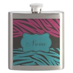 Personalizable Hot Pink and Teal Flask