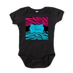 Personalizable Hot Pink and Teal Baby Bodysuit