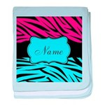 Personalizable Hot Pink and Teal baby blanket