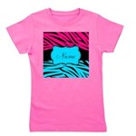 Personalizable Hot Pink and Teal Girl's Tee