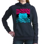 Personalizable Hot Pink and Teal Women's Hooded Sw