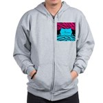 Personalizable Hot Pink and Teal Zip Hoodie