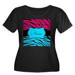 Personalizable Hot Pink and Teal Plus Size T-Shirt