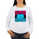 Personalizable Hot Pink and Teal Long Sleeve T-Shi