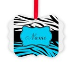 Personalizable Teal and Black Zebra Ornament