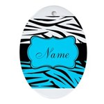 Personalizable Teal and Black Zebra Oval Ornament