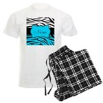 Personalizable Teal and Black Zebra Pajamas