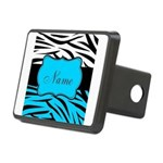 Personalizable Teal and Black Zebra Hitch Cover