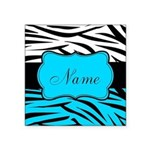 Personalizable Teal and Black Zebra Sticker