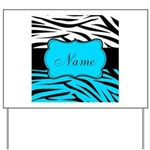 Personalizable Teal and Black Zebra Yard Sign