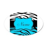 Personalizable Teal and Black Zebra Oval Car Magne