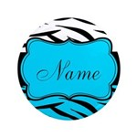 Personalizable Teal and Black Zebra Button
