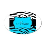 Personalizable Teal and Black Zebra Wall Decal
