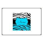 Personalizable Teal and Black Zebra Banner