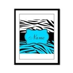 Personalizable Teal and Black Zebra Framed Panel P