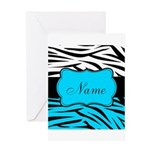 Personalizable Teal and Black Zebra Greeting Cards
