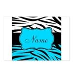 Personalizable Teal and Black Zebra Postcards (Pac
