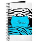 Personalizable Teal and Black Zebra Journal