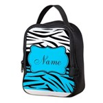 Personalizable Teal and Black Zebra Neoprene Lunch