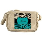 Personalizable Teal and Black Zebra Messenger Bag