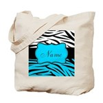 Personalizable Teal and Black Zebra Tote Bag