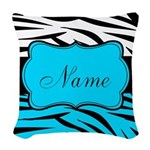 Personalizable Teal and Black Zebra Woven Throw Pi