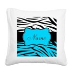 Personalizable Teal and Black Zebra Square Canvas